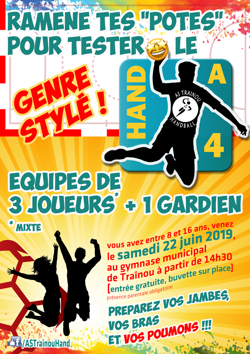 initiation au handball à quatre à Trainou le 22 juin 2019